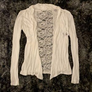 Charlotte Russe Size S White Lace Accent Cardigan